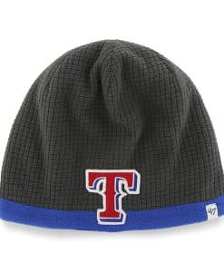 Texas Rangers Grid Fleece Beanie Charcoal 47 Brand YOUTH Hat