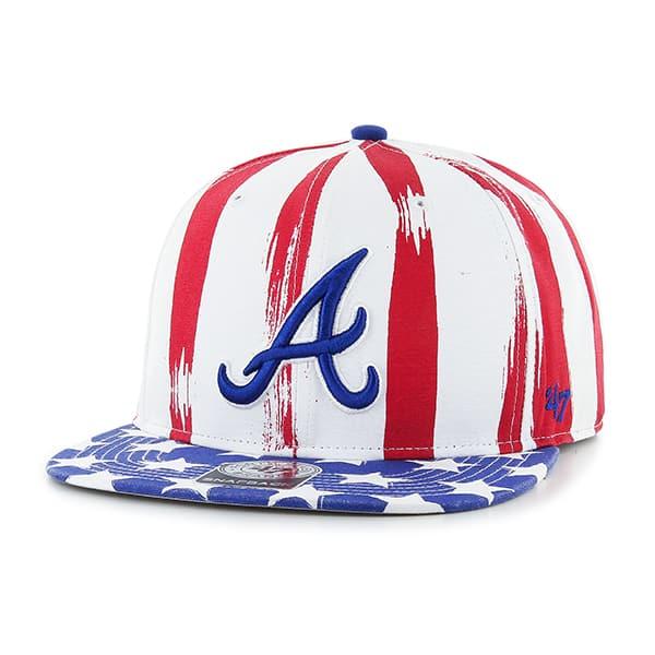Atlanta Braves Log Cabin Captain White 47 Brand Adjustable Hat