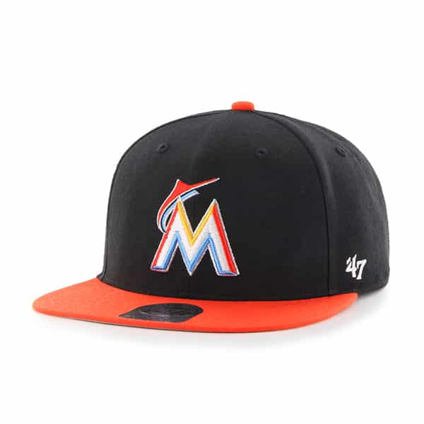 Miami Marlins Lil Shot Two Tone Captain Black 47 Brand YOUTH Hat