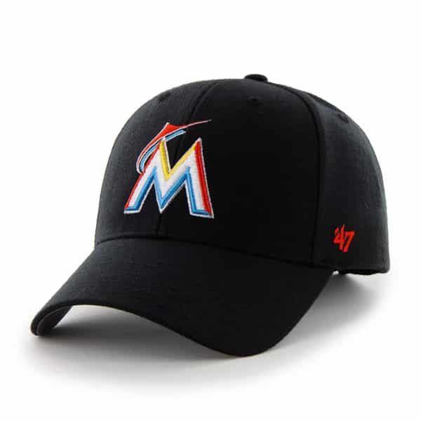 Miami Marlins MVP Black 47 Brand Adjustable Hat