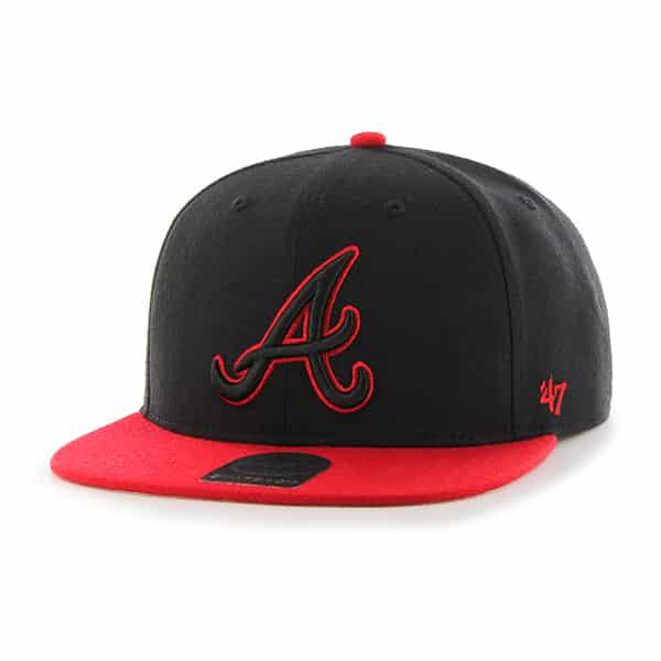 Atlanta Braves No Shot Two Tone Captain Black 47 Brand Adjustable Hat