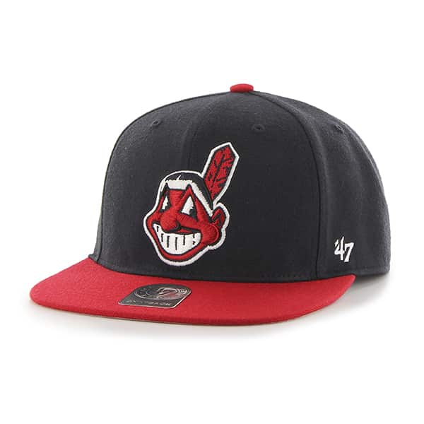 Cleveland Indians No Shot Two Tone Captain Navy 47 Brand YOUTH Hat