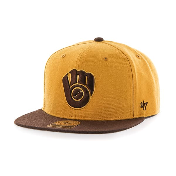 Milwaukee Brewers No Shot Two Tone Captain Wheat 47 Brand Adjustable Hat