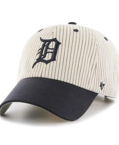 Detroit Tigers Pinstripe Home Run Two Tone Clean Up Navy 47 Brand Adjustable Hat