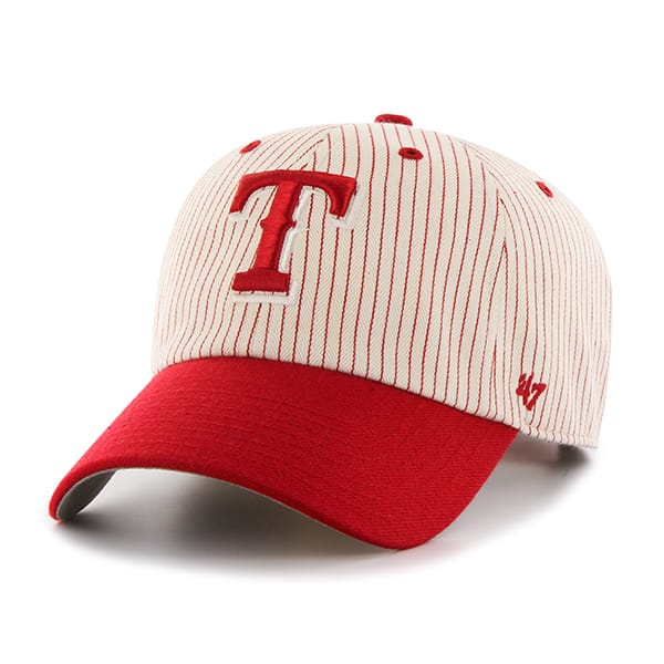Texas Rangers Pinstripe Home Run Two Tone Clean Up Red 47 Brand Adjustable Hat