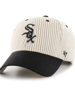 Chicago White Sox Pinstripe Home Run Two Tone MVP Black 47 Brand Adjustable Hat