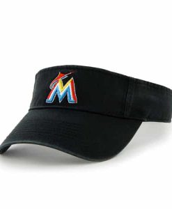 Miami Marlins Clean Up Visor Black 47 Brand Adjustable Hat