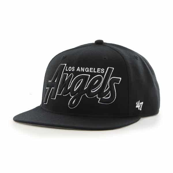 Los Angeles Angels Retroscript Blackout Black 47 Brand Adjustable Hat
