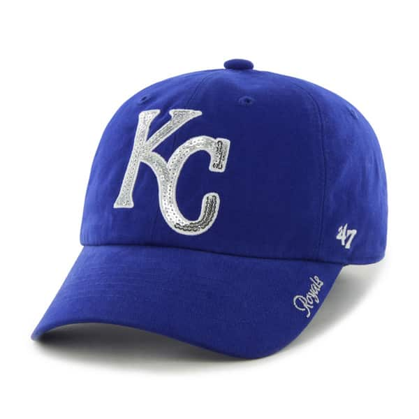 Kansas City Royals 47 Brand Women's Sparkle Blue Clean Up Adjustable Hat