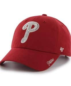 Philadelphia Phillies Sparkle Team Color Clean Up Red 47 Brand Womens Hat