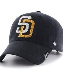San Diego Padres Sparkle Team Color Clean Up Navy 47 Brand Womens Hat