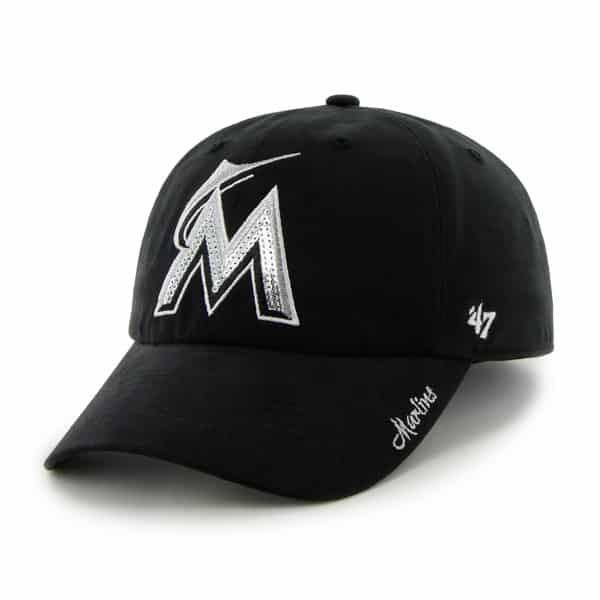 Miami Marlins Sparkle Team Color Clean Up Black 47 Brand Womens Hat