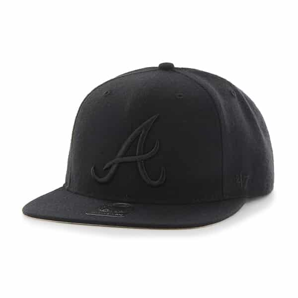 Atlanta Braves Sure Shot Black 47 Brand Adjustable Hat