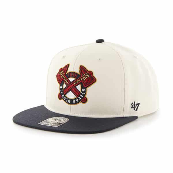 Atlanta Braves Sure Shot Two Tone Captain Natural 47 Brand Adjustable Hat