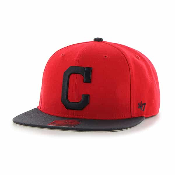 Cleveland Indians Sure Shot Two Tone Captain Red 47 Brand Adjustable Hat