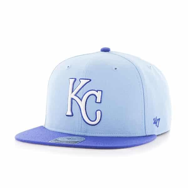 b7a34499290 Kansas City Royals Sure Shot Two Tone Captain Columbia 47 Brand Adjustable  Hat - Detroit Game Gear