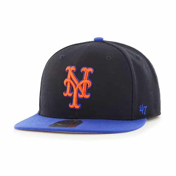 New York Mets Sure Shot Two Tone Captain Black 47 Brand Adjustable Hat