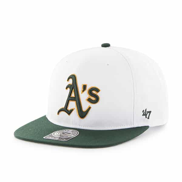 42680b680f2aa Oakland Athletics Sure Shot Two Tone Captain White 47 Brand Adjustable Hat  - Detroit Game Gear