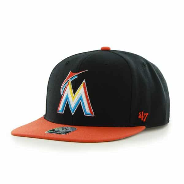 Miami Marlins Sure Shot Two Tone Captain Black 47 Brand Adjustable Hat