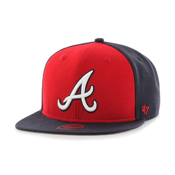 Atlanta Braves Sure Shot Accent Captain Navy 47 Brand Adjustable Hat