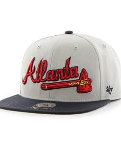 Atlanta Braves Script Side Two Tone Captain Gray 47 Brand Adjustable Hat
