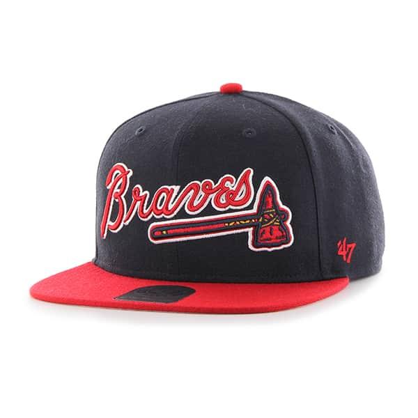 Atlanta Braves Script Side Two Tone Captain Navy 47 Brand Adjustable Hat