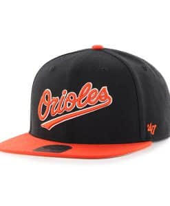 Baltimore Orioles Script Side Two Tone Captain Black 47 Brand Adjustable Hat
