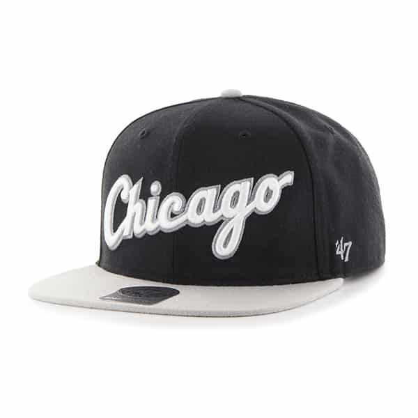 Chicago White Sox Script Side Two Tone Captain Black 47 Brand Adjustable Hat