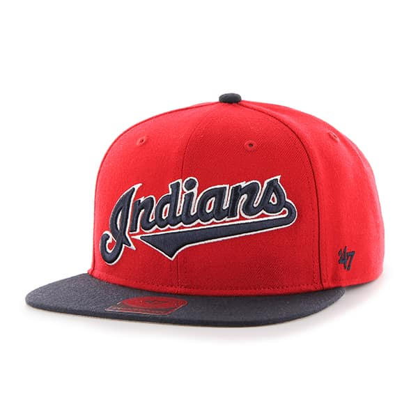 Cleveland Indians Script Side Two Tone Captain Red 47 Brand ... 8f498b7b6
