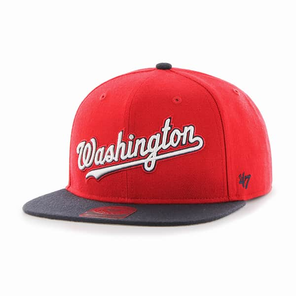 Washington Nationals Script Side Two Tone Captain Red 47 Brand Adjustable Hat