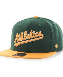 Oakland Athletics Script Side Two Tone Captain Dark Green 47 Brand Adjustable Hat