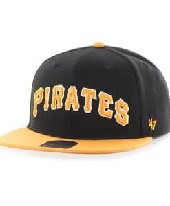 Pittsburgh Pirates Script Side Two Tone Captain Black 47 Brand Adjustable Hat
