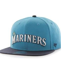 Seattle Mariners Script Side Two Tone Captain Dark Teal 47 Brand Adjustable Hat
