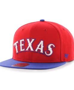 Texas Rangers Script Side Two Tone Captain Red 47 Brand Adjustable Hat