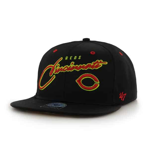 Cincinnati Reds Sweet Cheese Logo Black 47 Brand Adjustable Hat
