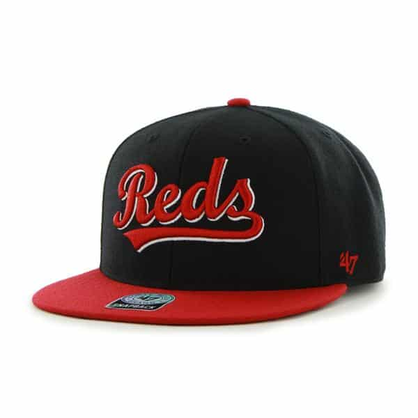 Cincinnati Reds Team Script Oath Black 47 Brand Adjustable Hat