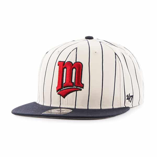 Minnesota Twins Pinstripe Captain Natural 47 Brand Adjustable Hat