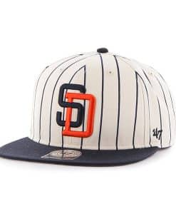 San Diego Padres Pinstripe Captain Natural 47 Brand Adjustable Hat