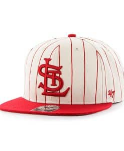 St. Louis Cardinals Pinstripe Captain Natural 47 Brand Adjustable Hat