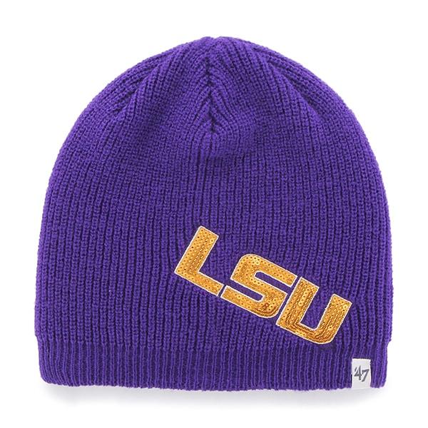 LSU TIGERS LOUISANA STATE UNIV NCAA WOMEN/'S CUFFLESS KNIT BEANIE HAT SKI CAP
