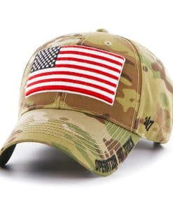 Operation Hat Trick Myers MVP Multicam 47 Brand Adjustable USA Flag Hat
