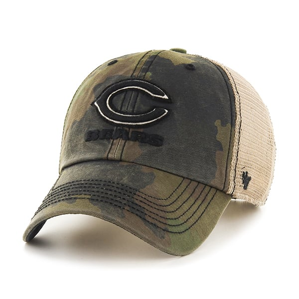Chicago Bears Burnett Clean Up Frontline Green Camo 47 Brand Adjustable Hat