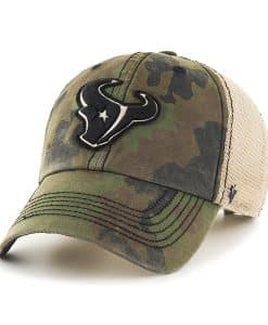 Houston Texans Burnett Clean Up Frontline Green Camo 47 Brand Adjustable Hat