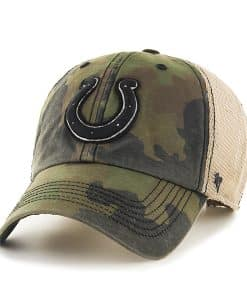 Indianapolis Colts Burnett Clean Up Frontline Green Camo 47 Brand Adjustable Hat