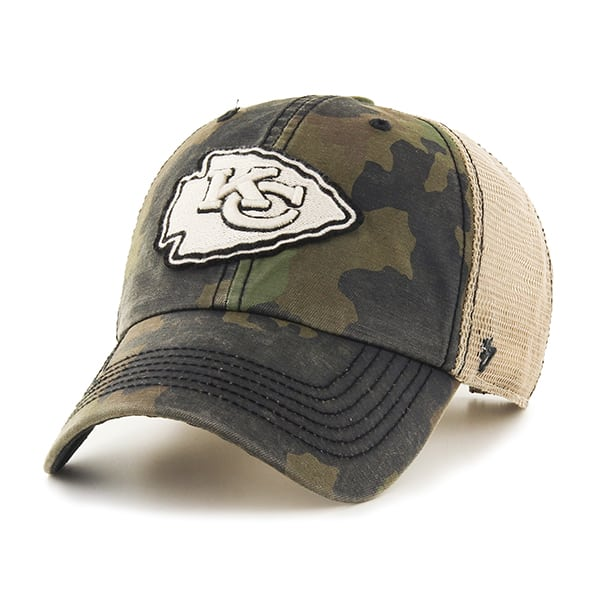 Kansas City Chiefs Burnett Clean Up Frontline Green Camo 47 Brand Adjustable Hat