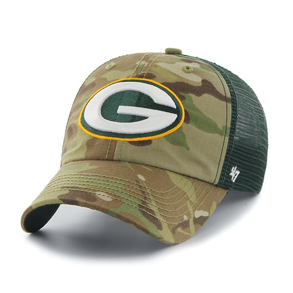 Green Bay Packers Compass Closer Multicam 47 Brand Stretch Fit Hat