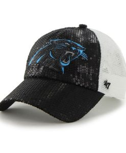 Carolina Panthers Dazzle Mesh Clean Up Black 47 Brand Womens Hat