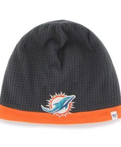 Miami Dolphins Grid Fleece Beanie Charcoal 47 Brand YOUTH Hat