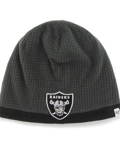 Oakland Raiders Grid Fleece Beanie Charcoal 47 Brand YOUTH Hat