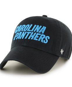 Carolina Panthers Script Clean Up Black 47 Brand Adjustable Hat